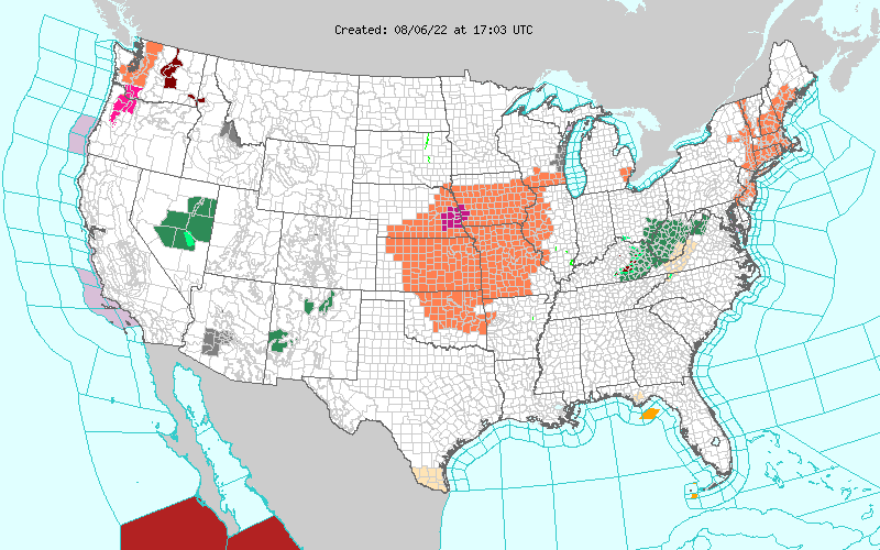 TODAY'S NWS ADVISORY MAP
