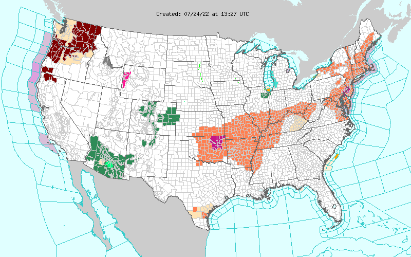 U.S. NWS Watch/Warning Map.