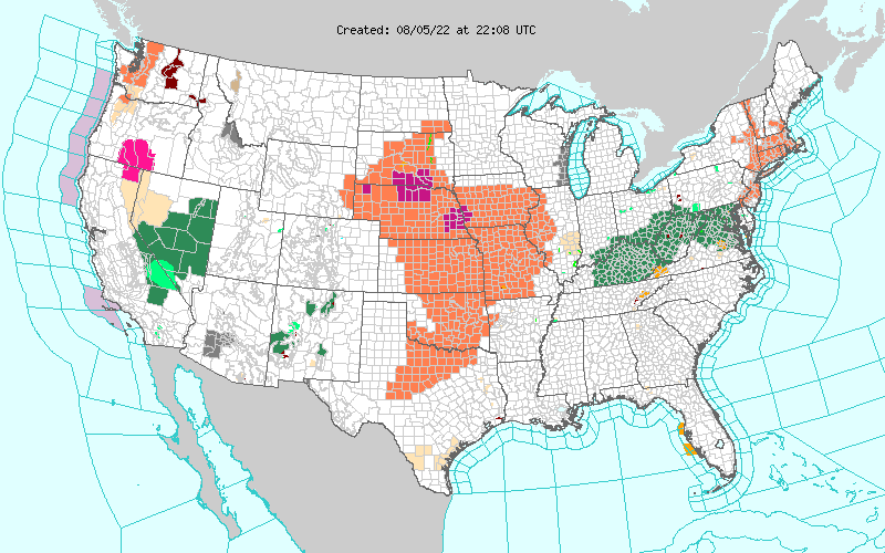 United States Weather Warnings, Watches and Advisories Map Thumbnail