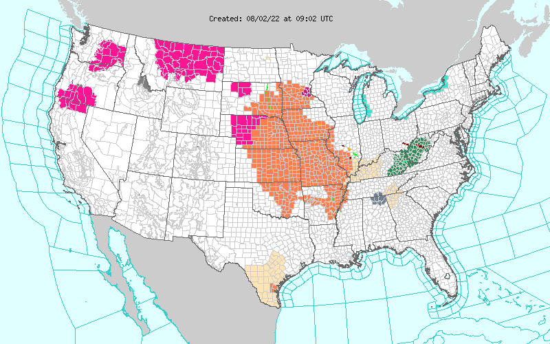 Current NWS Watches & Warnings In Effect.