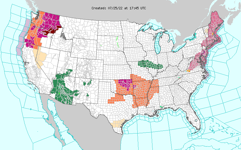 Map of severe weather watches and warnings across the United States from national weather service