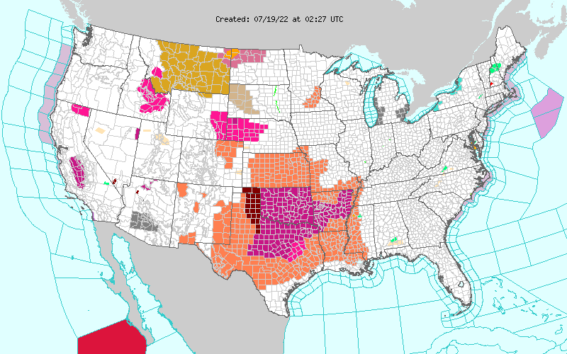 CURRENT NWS ADVISORY MAP