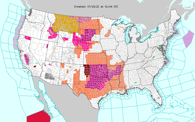 NWS Watch/Warning/Hazards Map