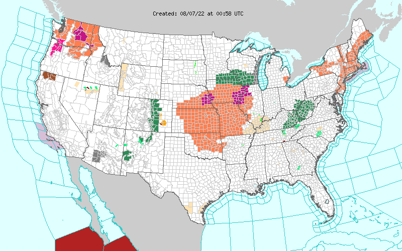 Current NWS Watches, Warnings, and Advisories