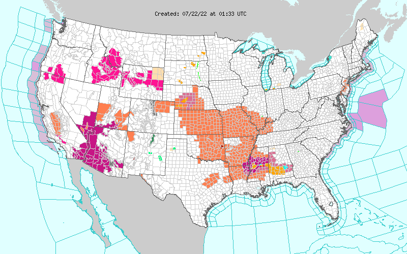 US watches, warnings and advisories